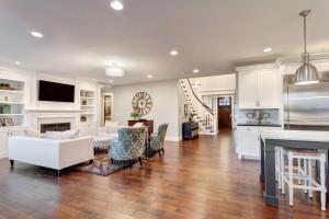 Beautiful Living Room Panorama in New Luxury Home